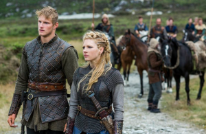 Katheryn Winnick stars as Lagertha and Alexander Ludwig stars as her son Bjorn in History Channel's Vikings