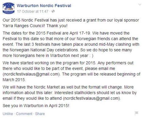 Warburton Nordic Festival 2015
