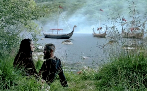 Ragnar (Travis Fimmel) and Princess Kwenthrith (Amy Bailey) chat in Episode 4 (entitled Scarred) Season 3 of History Channel's Vikings