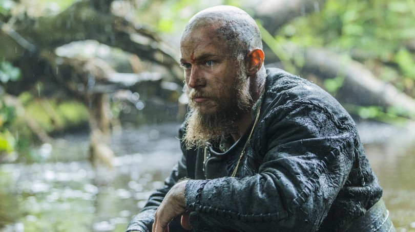 Ragnar Lothbok (Travis Fimmel grieves in Episode 6 entitled Born Again) Season 3 of History Channel's Vikings