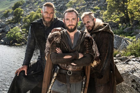 Ragnar Lothbrok (Travis Fimmel), Athelstan (George Blagden) and Floki (Gustaf Skarsgard) star in Episode 6 (entitled Born Again) Season 3 of History Channel's Vikings