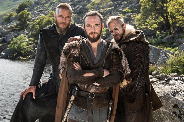 Ragnar Lothbrok (Travis Fimmel), Athelstan (George Blagden) and Floki (Gustaf Skarsgard) star in Episode 6 (entitled Born Again) Season 3 of History Channel's Vikings