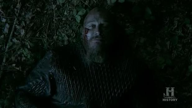 Ragnar (Travis Fimmel) chats to Athelstan in Episode 8 (entitled To The Gates!) Season 3 of History Channel's Vikings