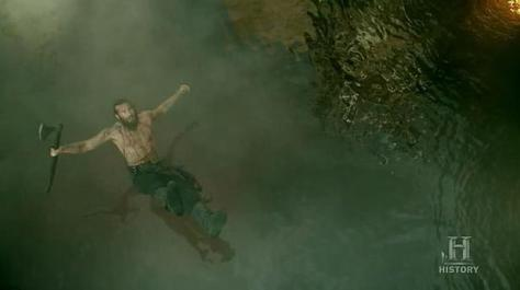 Rollo (Clive Standen) falls down in Episode 8 (entitled To The Gates!) Season 3 of History Channel's Vikings