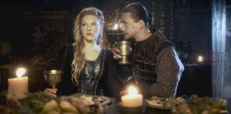 Season 4 History Channel Vikings starring Lagertha (Katheryn Winnick) and Kalf (Ben Robson)